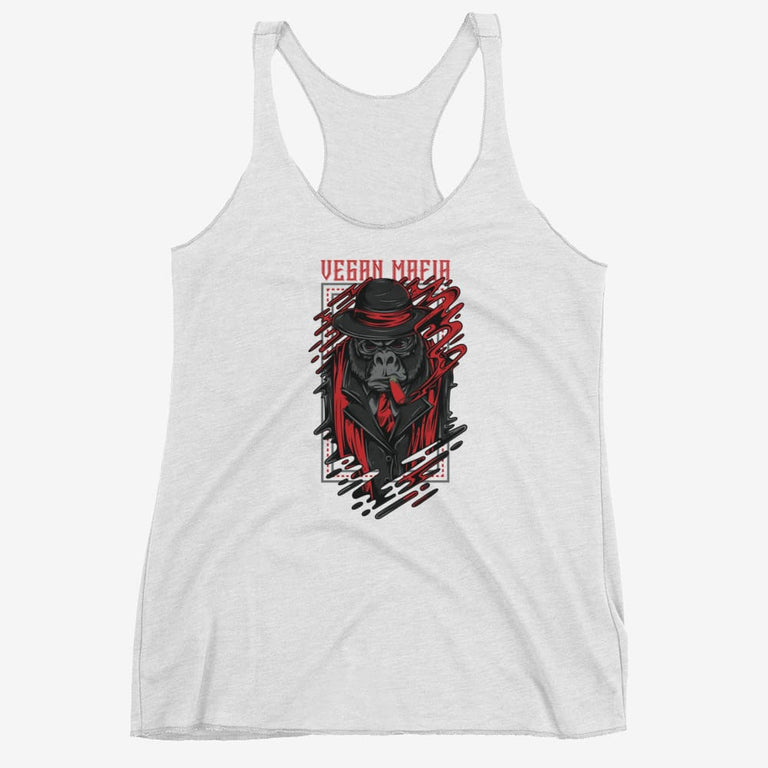 Womens Vegan Mafia Racerback Tank - Heather White / Xs
