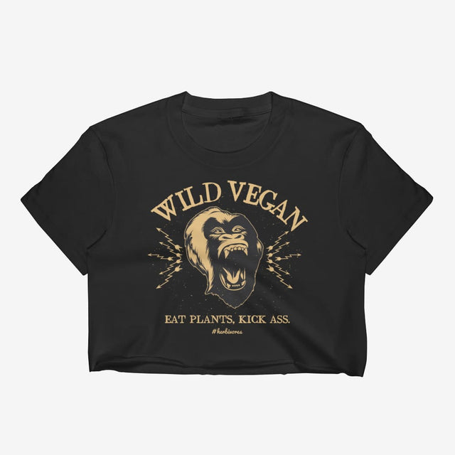 Womens Wild Vegan Crop Top - Black / S