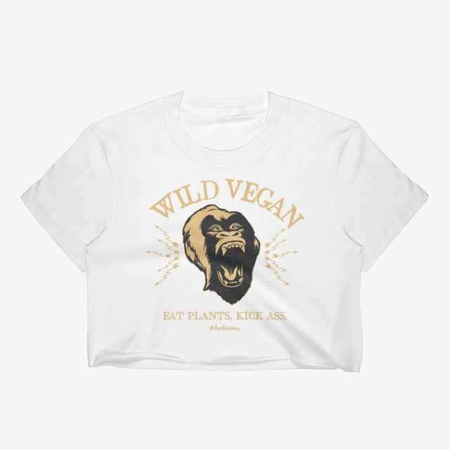 Womens Wild Vegan Crop Top - White / S