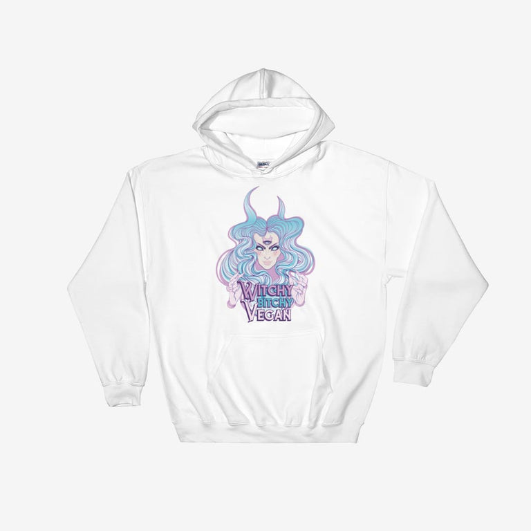Womens Witchy Bitchy Vegan Hooded Sweatshirt - White / S