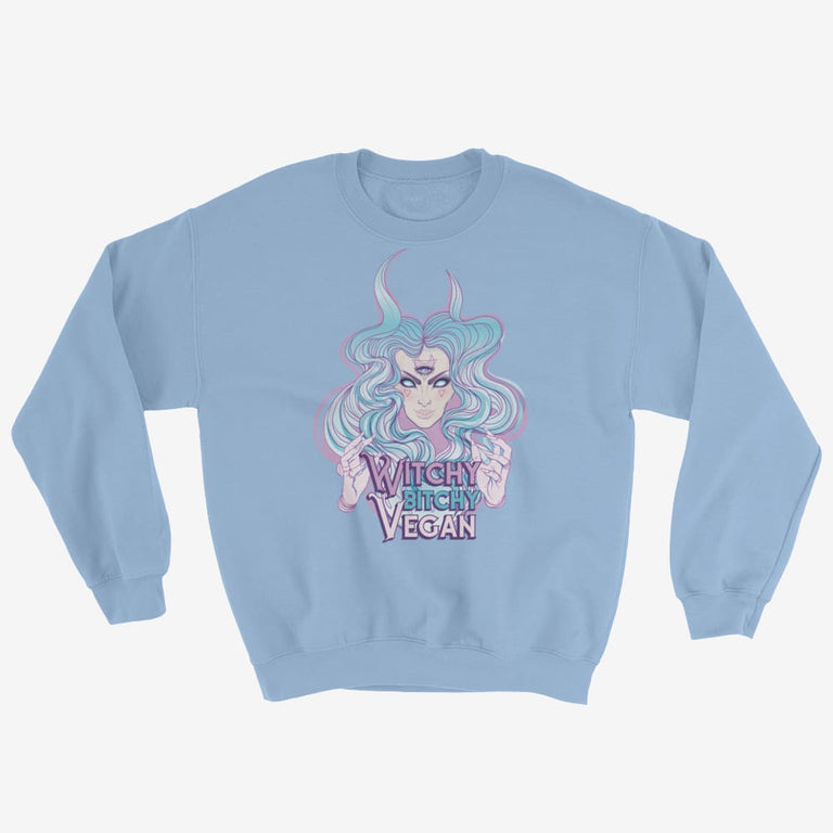 Womens Witchy Bitchy Vegan Sweatshirt - Light Blue / S