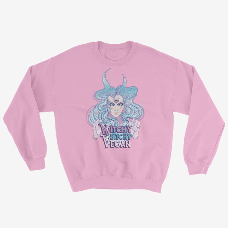 Womens Witchy Bitchy Vegan Sweatshirt - Light Pink / S