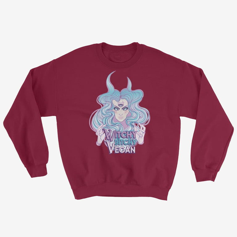 Womens Witchy Bitchy Vegan Sweatshirt - Maroon / S