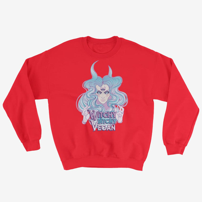 Womens Witchy Bitchy Vegan Sweatshirt - Red / S