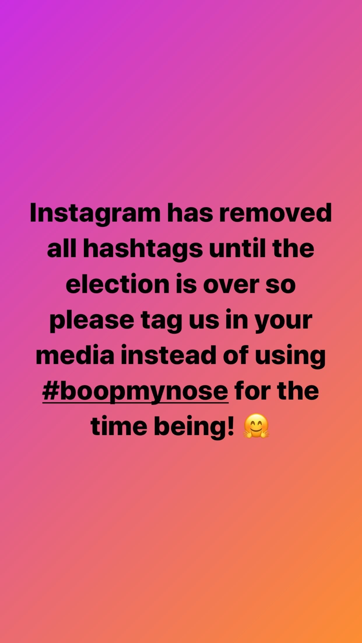 Instagram removed hashtags until post US election