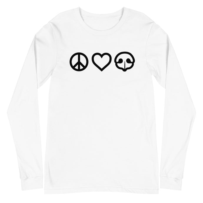 Peace Love BOOP Dog Nose Heart White Long Sleeve Tee T-Shirt