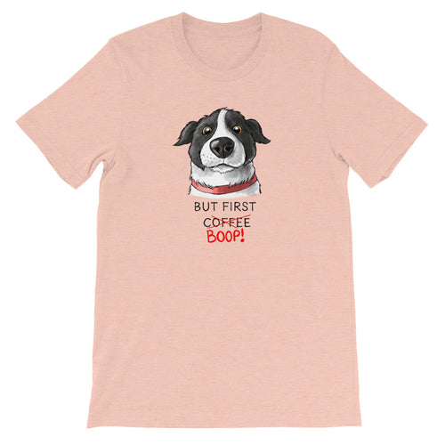 But First Coffee Boop Border Collie Portrait Short Sleeve Heather Prism Peach T-Shirt Tee