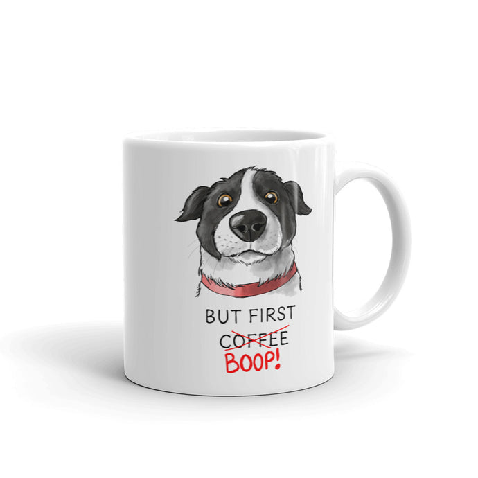 But First Coffee Boop Border Collie Portrait Mug