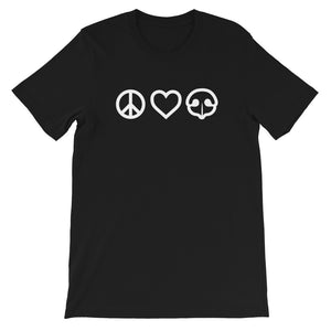 Peace Love BOOP Dog Nose Heart Black Short Sleeve Tee T-Shirt