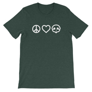 Peace Love BOOP Pet Snoot Heart Heather Forest Short Sleeve Tee T-Shirt