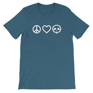 Peace Love BOOP Dog Nose Heart Heather Deep Teal Short Sleeve Tee T-Shirt