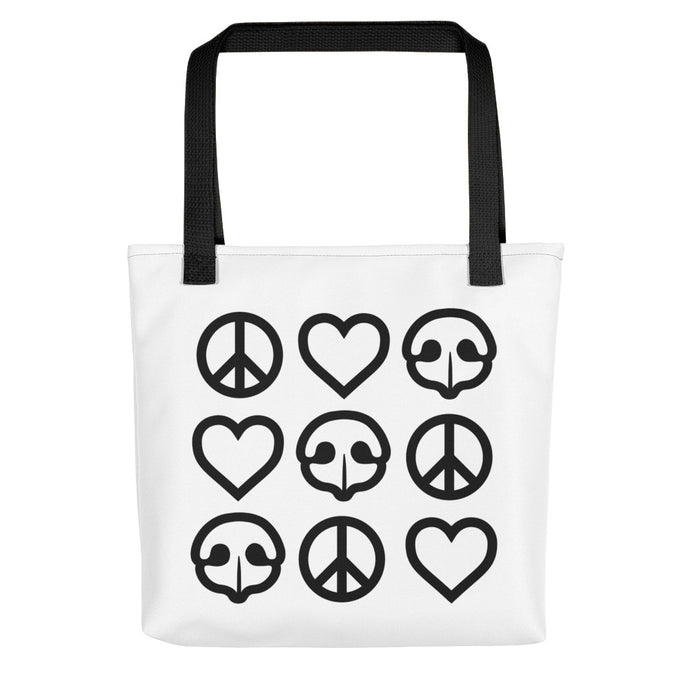 Peace Love BOOP Dog Noses Heart Tote Bag