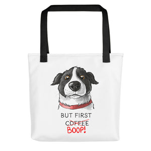 But First Coffee Boop Border Collie Portrait Tote Bag