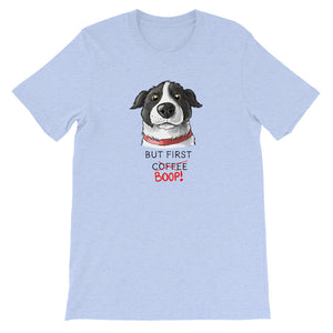 But First Coffee Boop Border Collie Portrait Short Sleeve Heather Blue T-Shirt Tee
