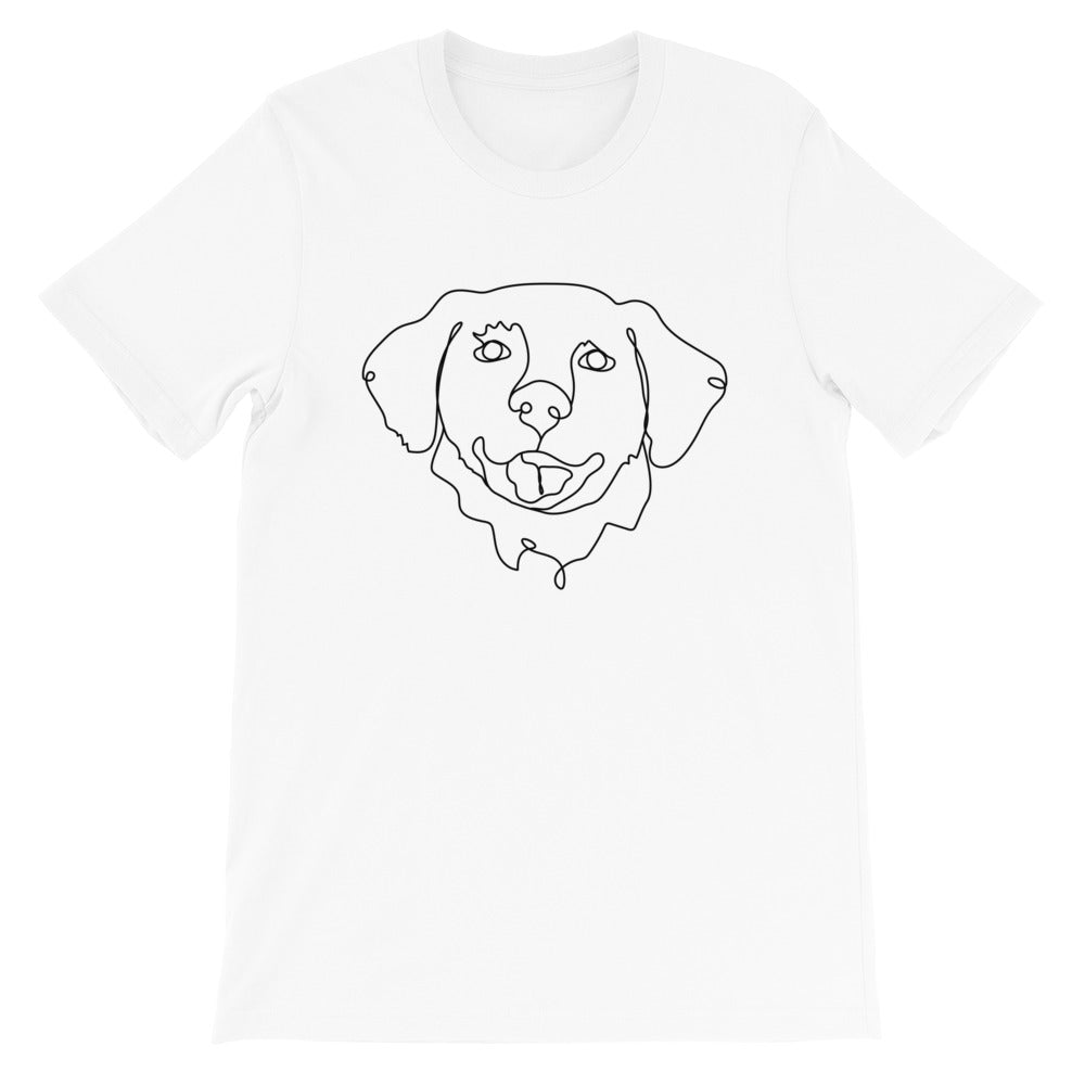 Pet Portrait Continuous Line Art Dog Contour Drawing Golden Retriever White Short Sleeve T-Shirt Tee