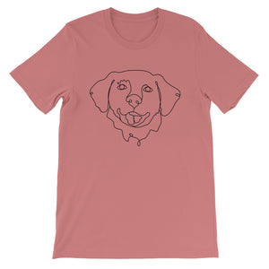 Golden Retriever Continuous Line Boop Short Sleeve T-Shirt