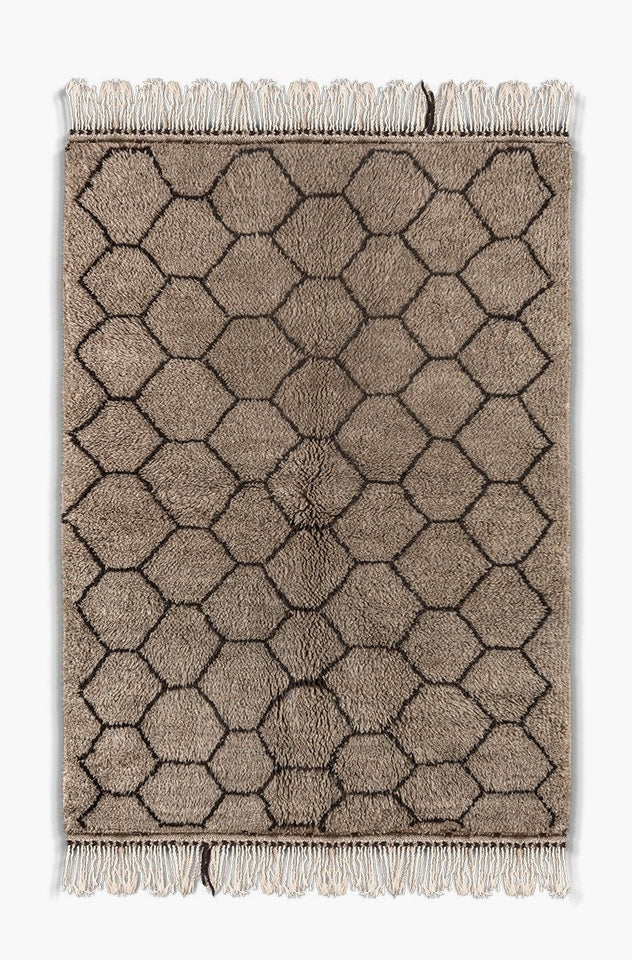 Berber carpet Gray and Black - beni ourain rug - moroccan rug - 100% wool - Ofrada