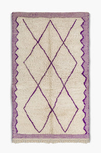 Berber carpet Beni Ouarain white and purple - beni ourain rug - Ofrada