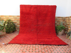 Mrirt red beni carpet authentic 100% Moroccan wool berber - Ofrada