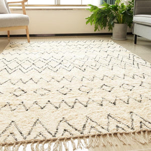 Moroccan Carpet Nordic Design with Black White Stripes - Ofrada