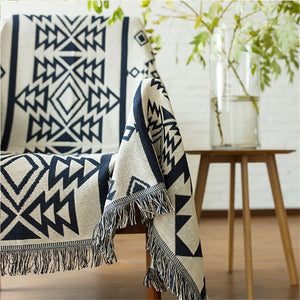 Geometric Sofa Blanket Throws Cotton Weighted Bedspread Chair - Ofrada
