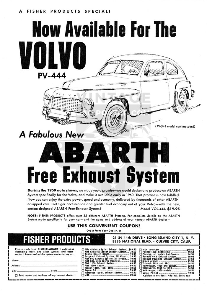 Volvo Car Poster, 1960 Abarth Parts Free Exhaust System Volvo PV-444, Vintage Ad Wall Art