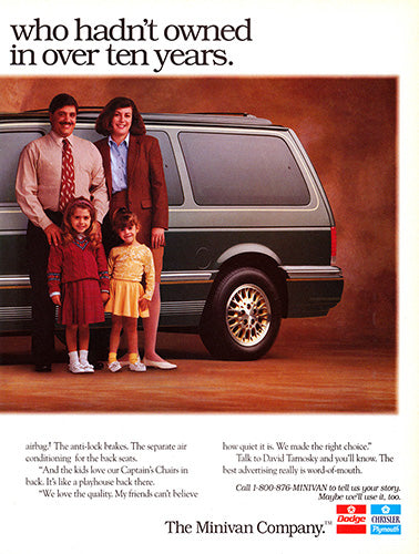 Chrysler Car Poster, 1993 Chrysler Town & Country , Vintage Ad Wall Art