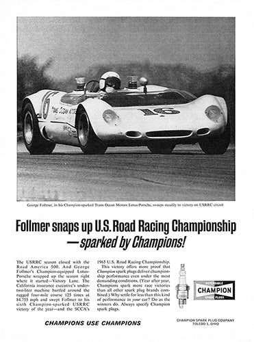 1965 Champion Spark Plugs Lotus Porsche     #100606
