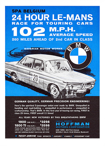 BMW Car Poster, 1965 BMW 1800 TI, Vintage Ad Wall Art