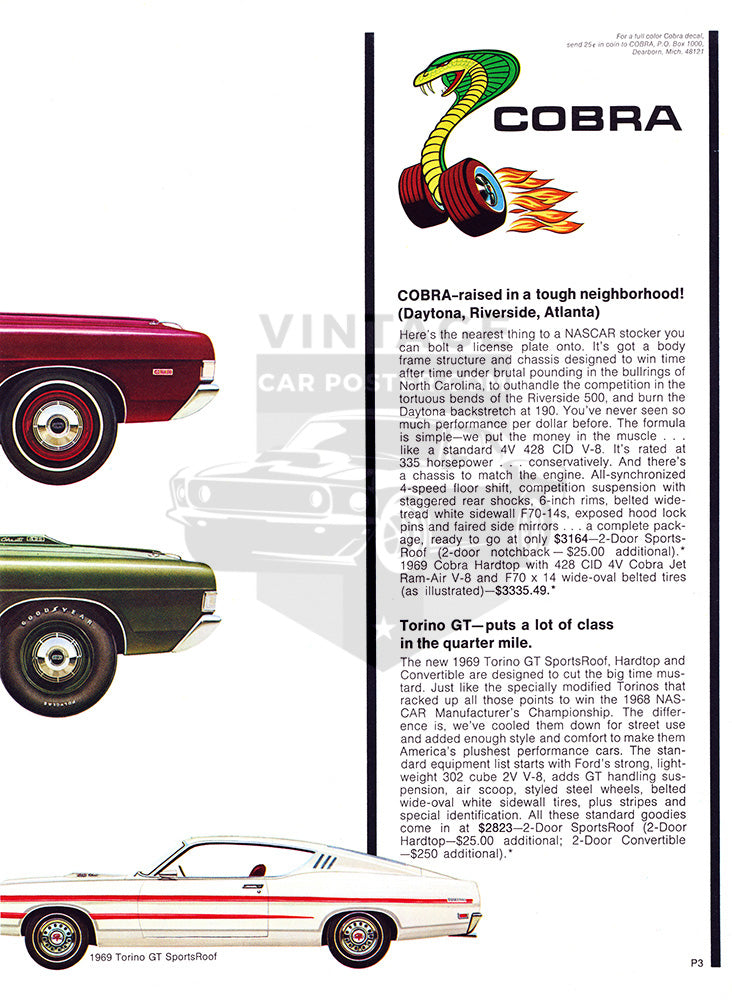 Ford Car Poster, 1969 Ford Torino Cobra GT , Vintage Ad Wall Art