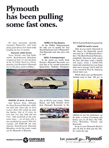 Plymouth Car Poster, 1966 Plymouth Chrysler Belvedere, Vintage Ad Wall Art