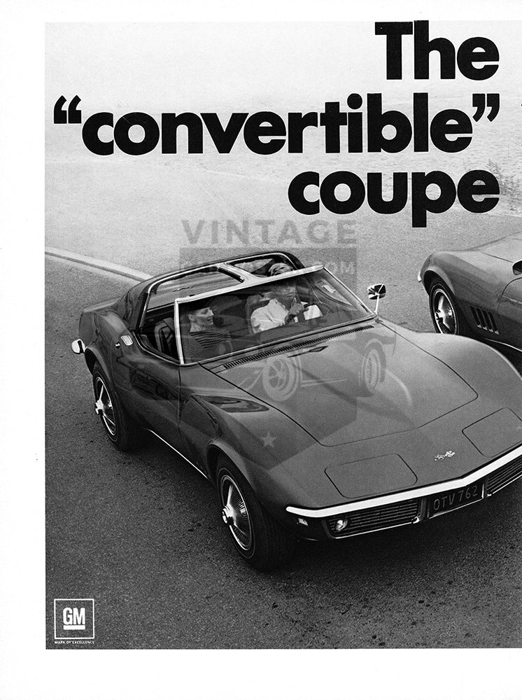 Chevrolet Car Poster, 1968 Chevrolet Corvette Sting Ray , Vintage Ad Wall Art