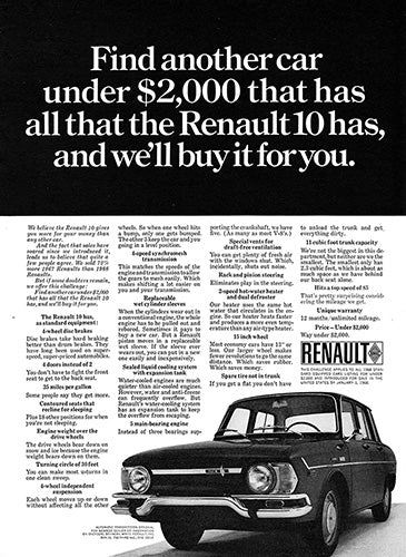 Renault Car Poster, 1968 Renault 10, Vintage Ad Wall Art