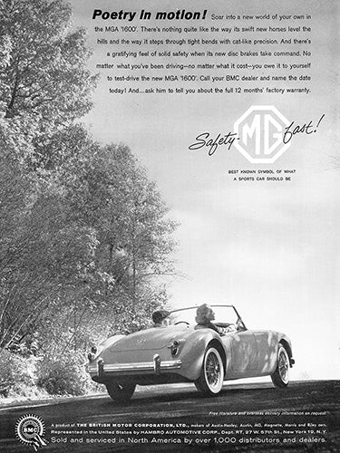 MG Car Poster, 1960 MG MGA 1600, Vintage Ad Wall Art