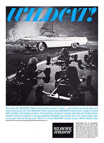 Buick Car Poster, 1963 Buick Wildcat, Vintage Ad Wall Art
