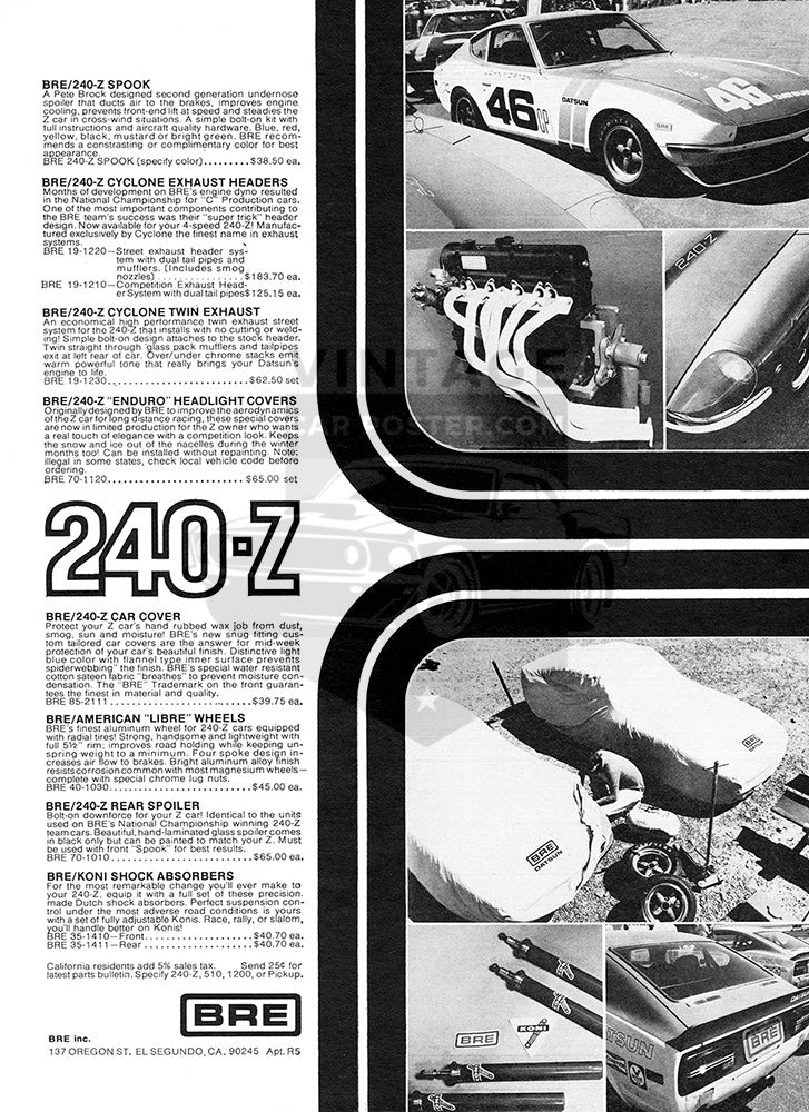 Datsun Car Poster, 1971 BRE Accessories Datsun 240 Z, Vintage Ad Wall Art