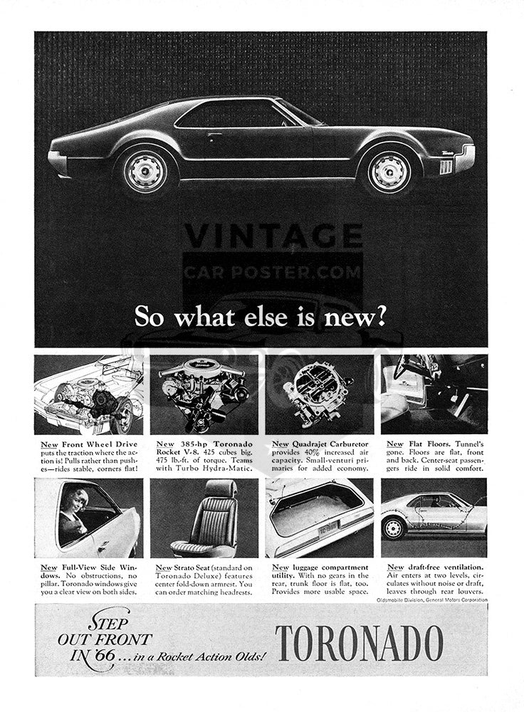 Oldsmobile Car Poster, 1966 Oldsmobile Toronado, Vintage Ad Wall Art