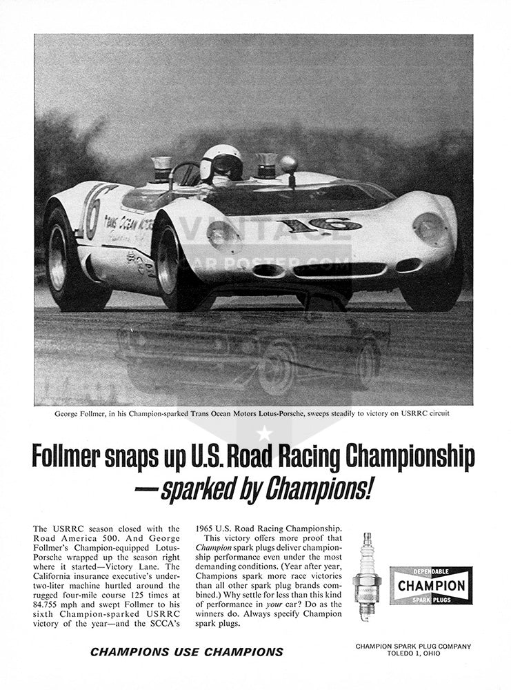 Porsche Car Poster, 1965 Champion Spark Plugs Lotus Porsche, Vintage Ad Wall Art