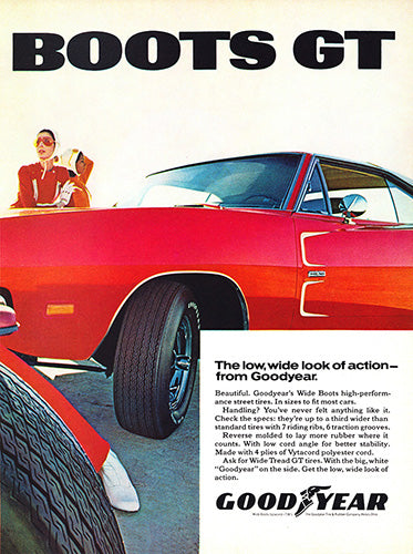 1969 Goodyear Tires Wide Boots GT Dodge Charger Hemi      #101272