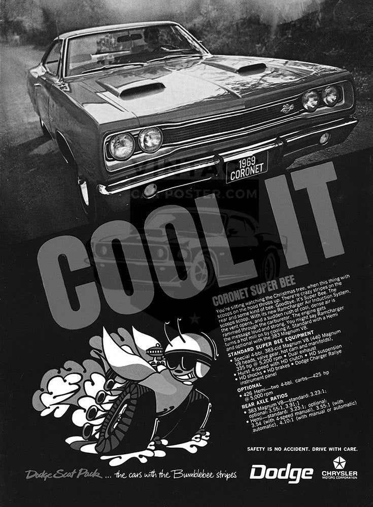 Dodge Car Poster, 1969 Dodge Coronet Super Bee, Vintage Ad Wall Art