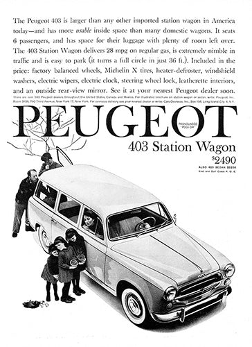 Peugeot Car Poster, 1960 Peugeot 403 Station Wagon, Vintage Ad Wall Art
