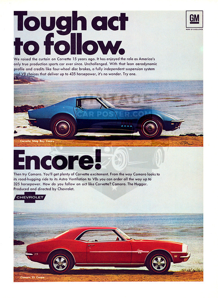 Chevrolet Car Poster, 1968 Chevrolet Camaro SS Corvette Sting Ray Coupe, Vintage Ad Wall Art