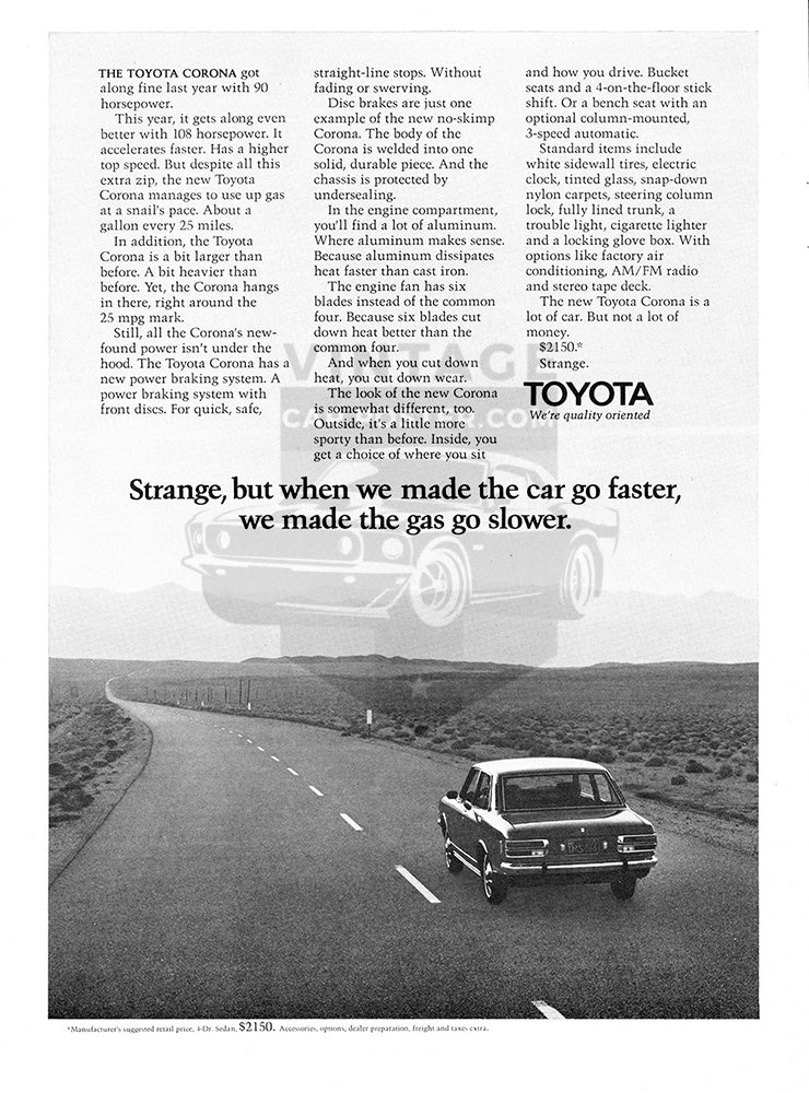 Toyota Car Poster, 1971 Toyota Corona, Vintage Ad Wall Art