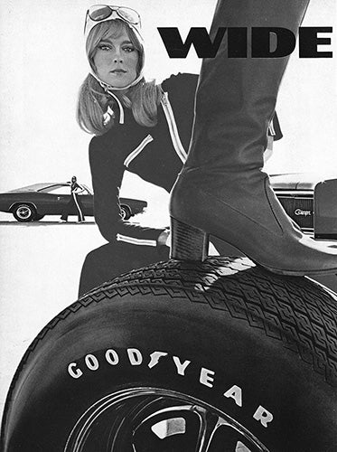 Dodge Car Poster, 1969 Goodyear Tires Wide Boots GT Dodge Charger Hemi , Vintage Ad Wall Art