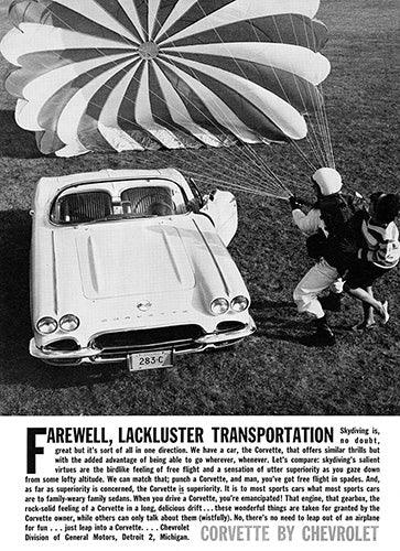 Chevrolet Car Poster, 1962 Chevrolet Corvette, Vintage Ad Wall Art