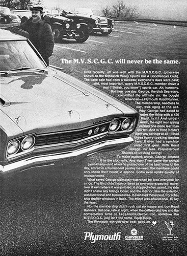 Plymouth Car Poster, 1968 Plymouth Road Runner , Vintage Ad Wall Art