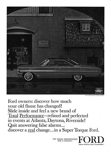 Ford Car Poster, 1963 Ford Galaxie, Vintage Ad Wall Art