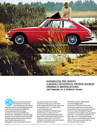 MG Car Poster, 1966 MG MGB GT, Vintage Ad Wall Art