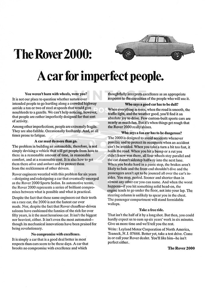 Rover Car Poster, 1968 Rover 2000 Sports Sedan, Vintage Ad Wall Art