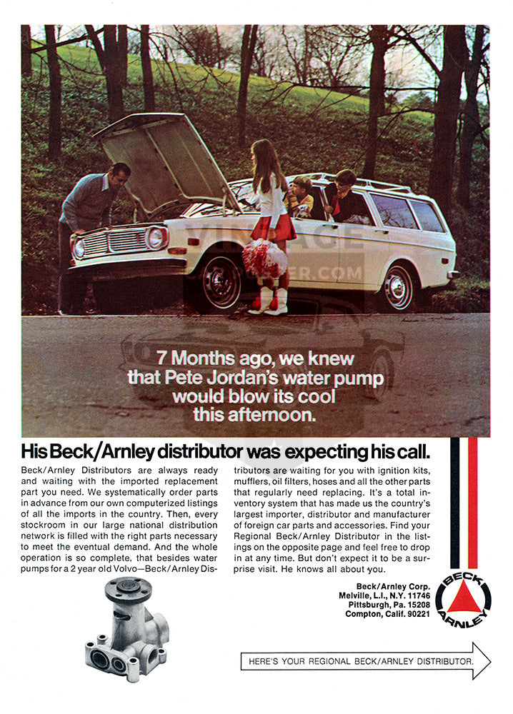 Beck Anrley Car Poster, 1971 Beck Arnley Parts, Vintage Ad Wall Art